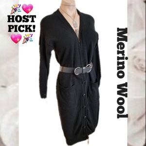 Merino wool long black duster cardigan sweater